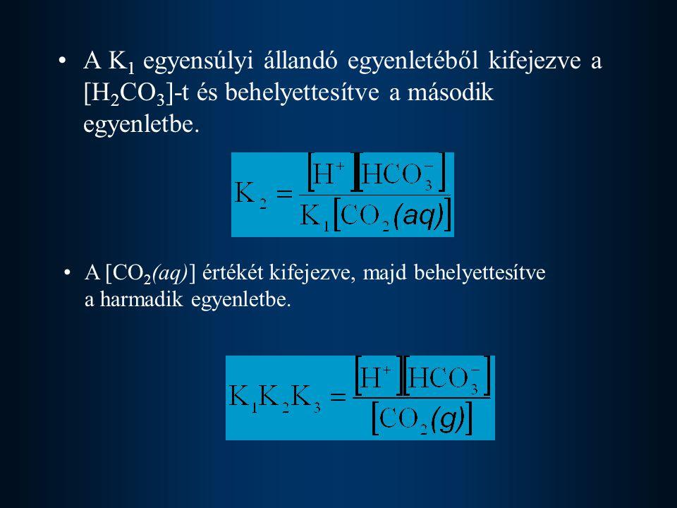 A K1 egyensúlyi állandó egyenletéből kifejezve a [H2CO3]-t és behelyettesítve a második egyenletbe.